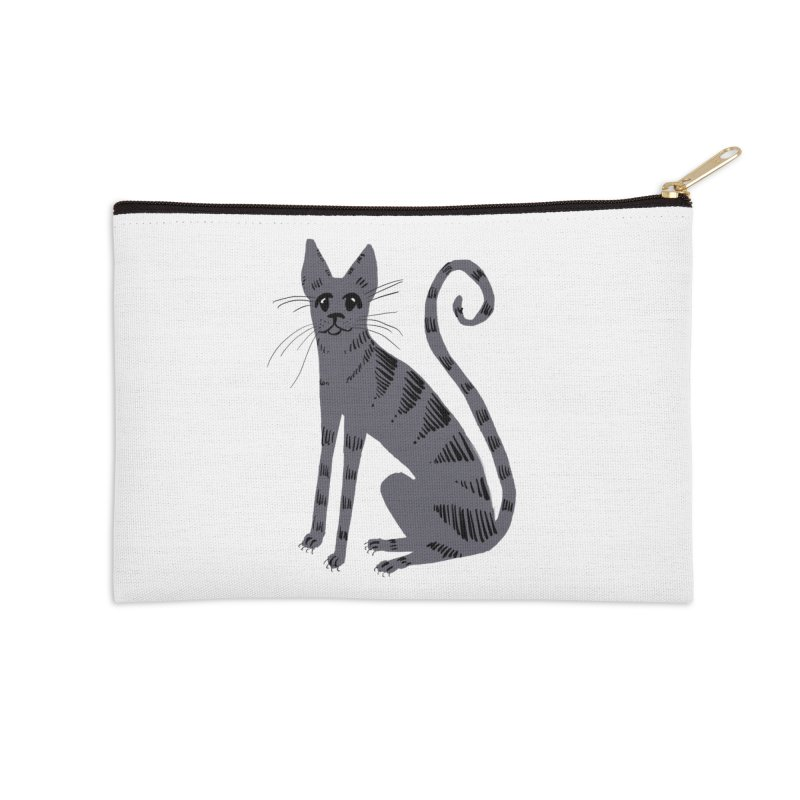 Grey Tabby Cat Accessories Zip Pouch by Renee Leigh Stephenson Artist Shop