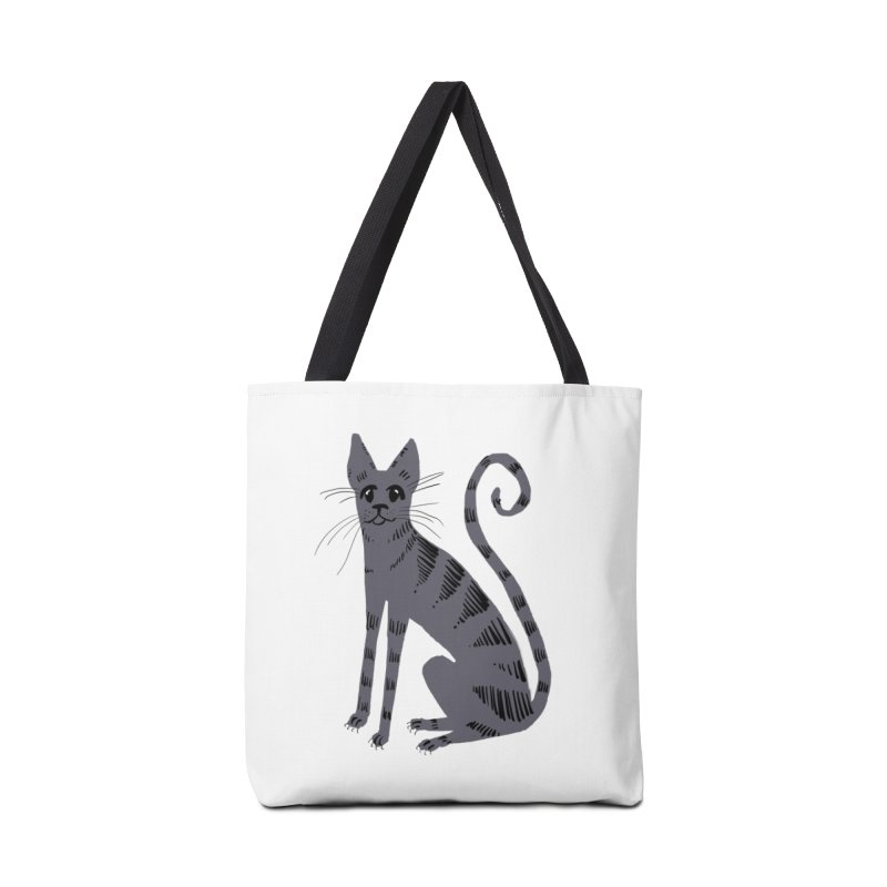 Grey Tabby Cat Accessories Bag by Renee Leigh Stephenson Artist Shop