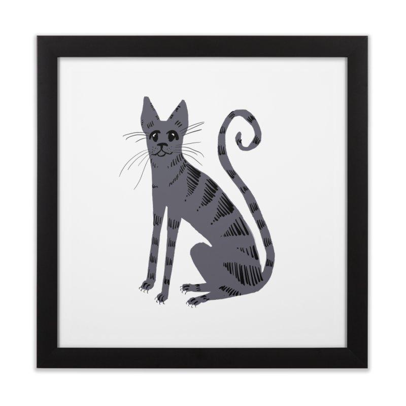 Grey Tabby Cat Home Framed Fine Art Print by Renee Leigh Stephenson Artist Shop