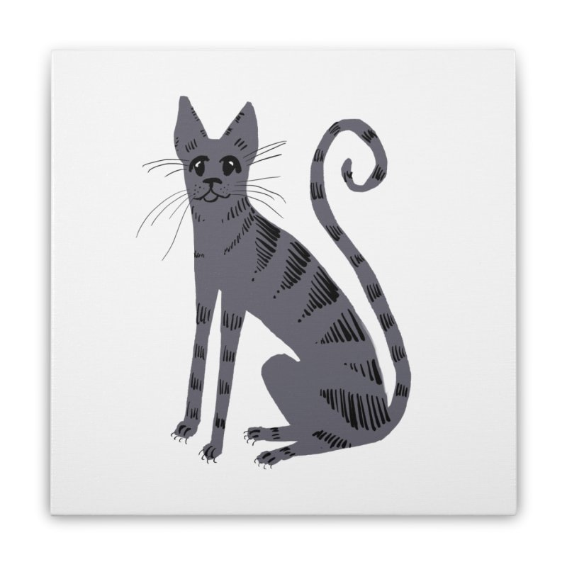 Grey Tabby Cat Home Stretched Canvas by Renee Leigh Stephenson Artist Shop