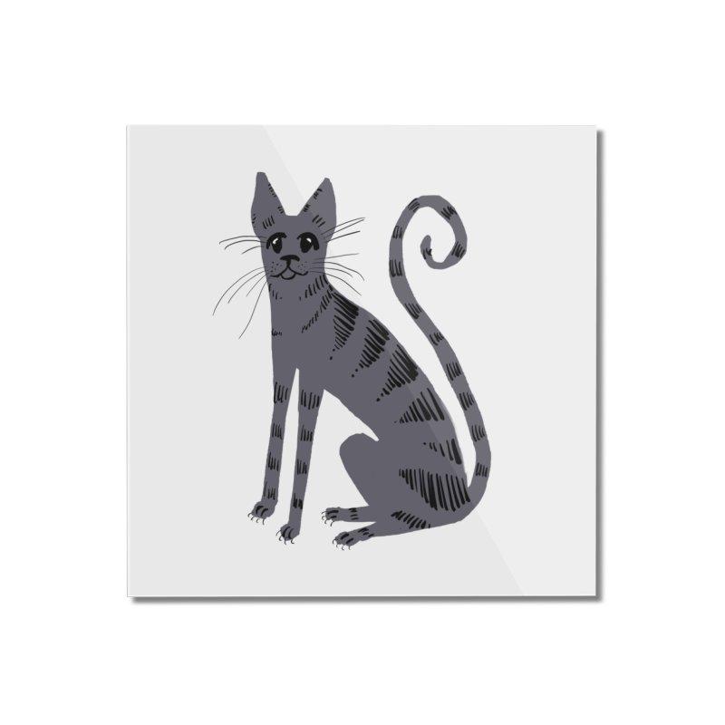 Grey Tabby Cat Home Mounted Acrylic Print by Renee Leigh Stephenson Artist Shop