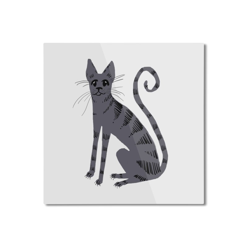 Grey Tabby Cat Home Mounted Aluminum Print by Renee Leigh Stephenson Artist Shop