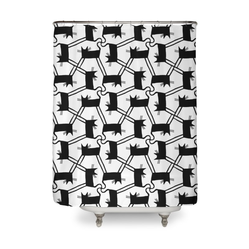 Black Cat Pattern Home Shower Curtain by Renee Leigh Stephenson Artist Shop