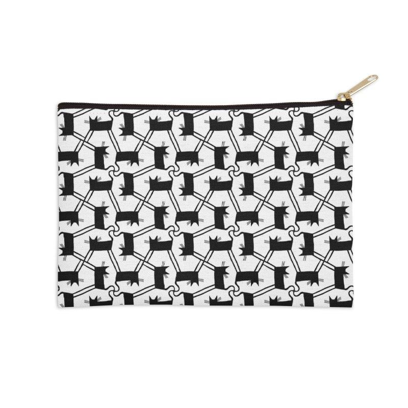 Black Cat Pattern Accessories Zip Pouch by Renee Leigh Stephenson Artist Shop