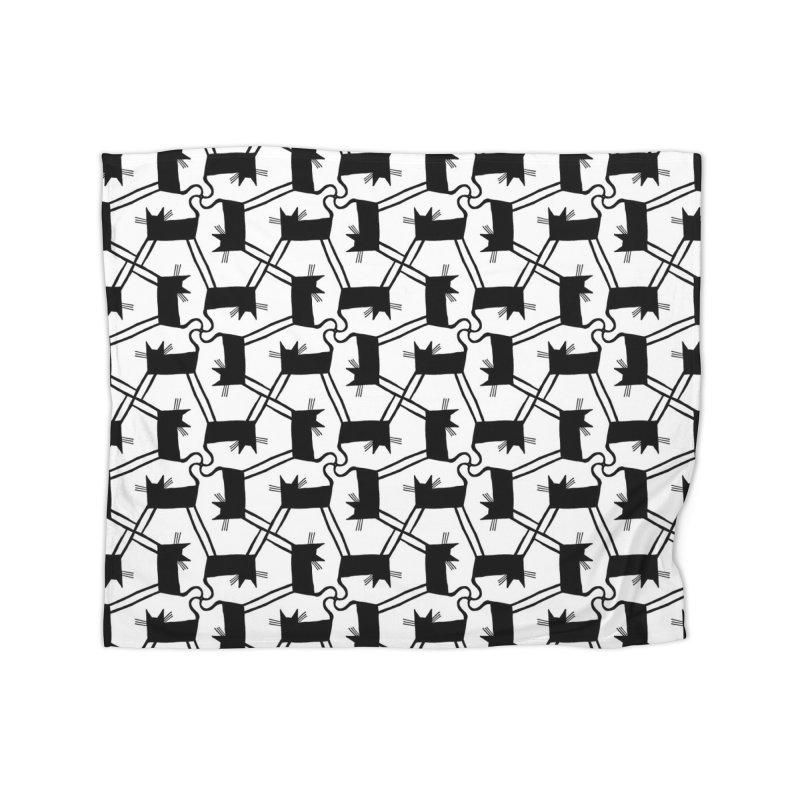 Black Cat Pattern Home Fleece Blanket Blanket by Renee Leigh Stephenson Artist Shop