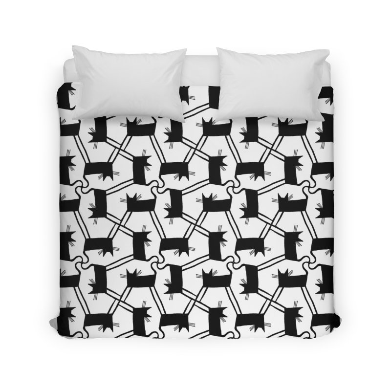 Black Cat Pattern Home Duvet by Renee Leigh Stephenson Artist Shop