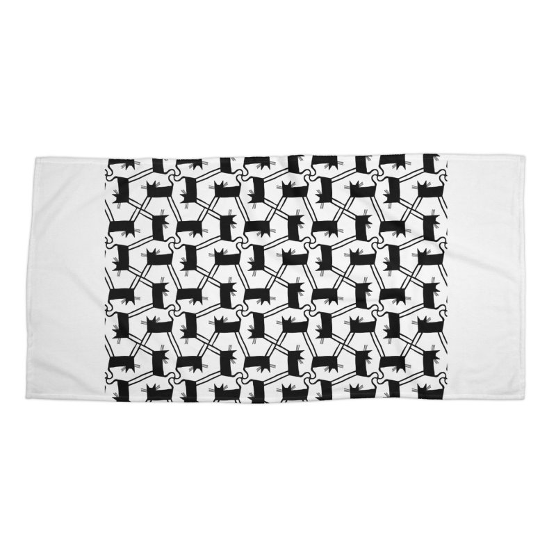 Black Cat Pattern Accessories Beach Towel by Renee Leigh Stephenson Artist Shop