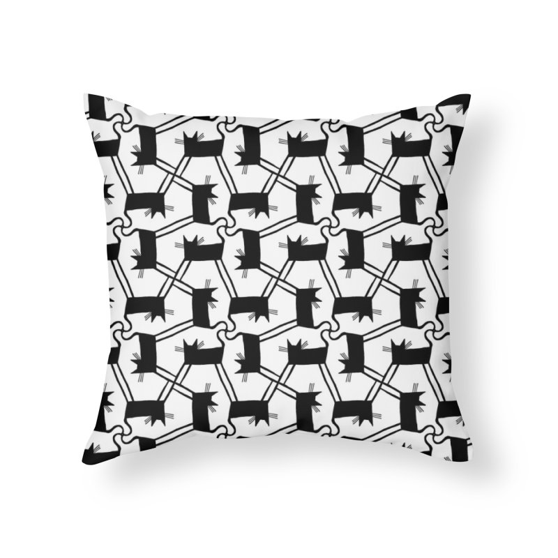 Black Cat Pattern Home Throw Pillow by Renee Leigh Stephenson Artist Shop