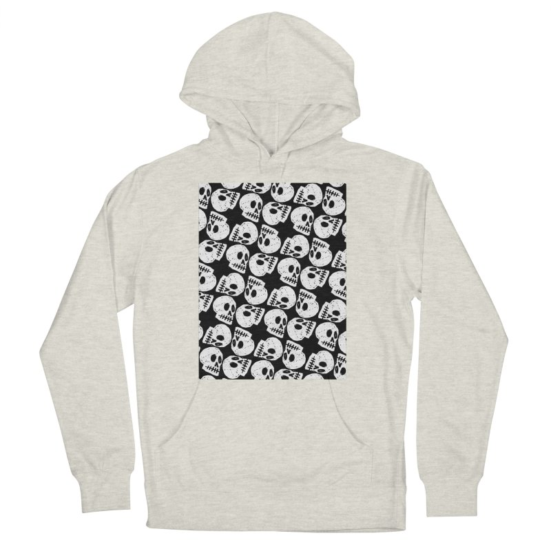 Black and White Skull Pattern Men's Pullover Hoody by Renee Leigh Stephenson Artist Shop