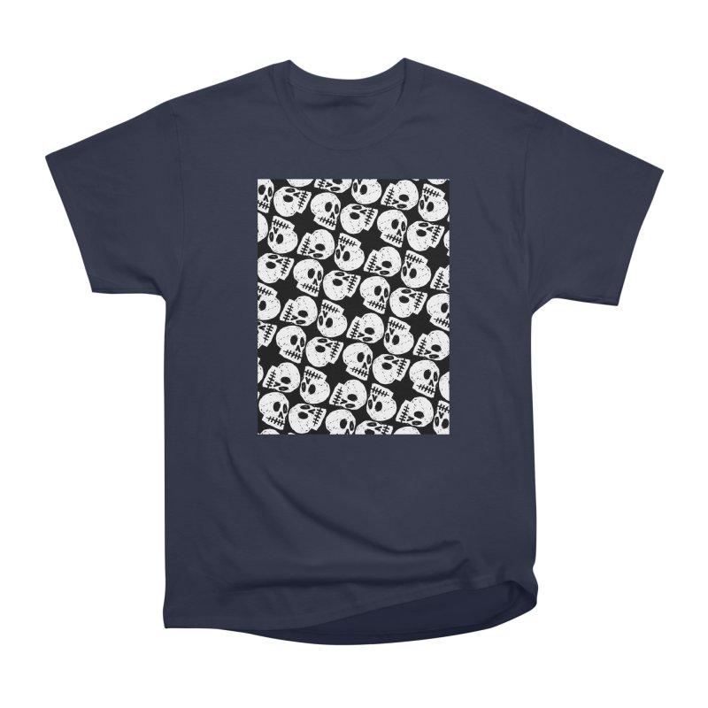 Black and White Skull Pattern Women's Classic Unisex T-Shirt by Renee Leigh Stephenson Artist Shop