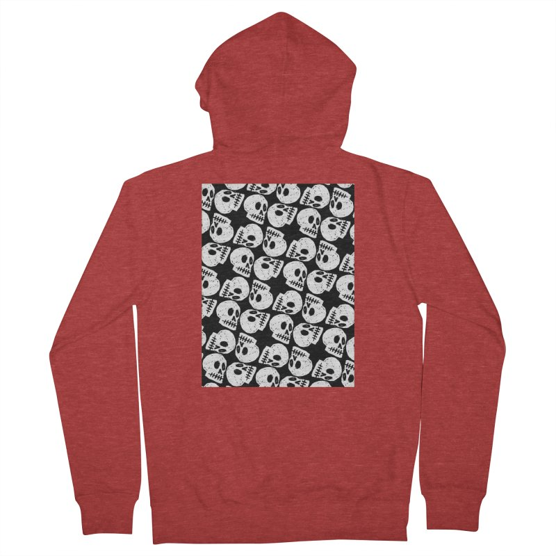Black and White Skull Pattern Women's French Terry Zip-Up Hoody by Renee Leigh Stephenson Artist Shop