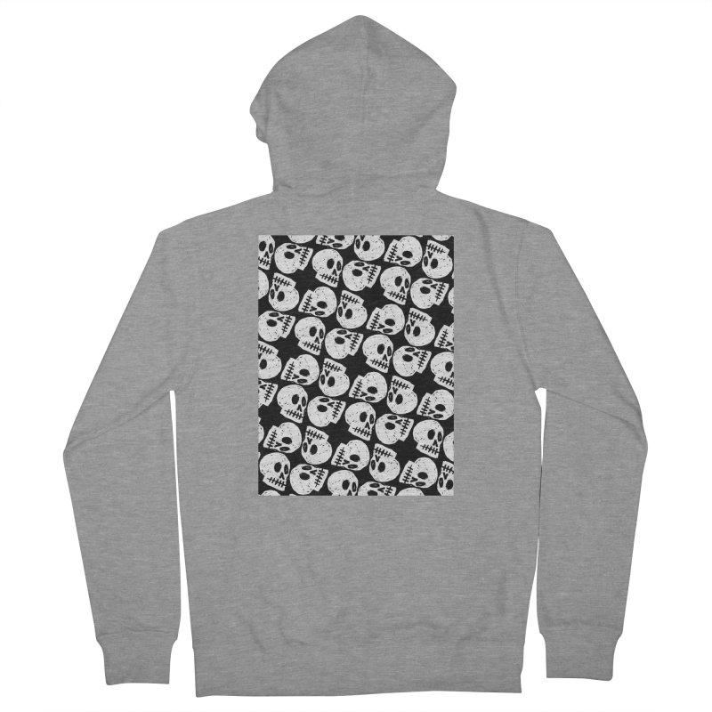 Black and White Skull Pattern Men's Zip-Up Hoody by Renee Leigh Stephenson Artist Shop