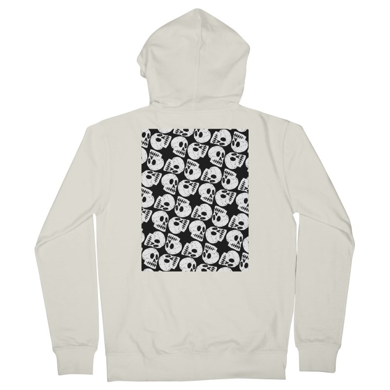 Black and White Skull Pattern Men's French Terry Zip-Up Hoody by Renee Leigh Stephenson Artist Shop