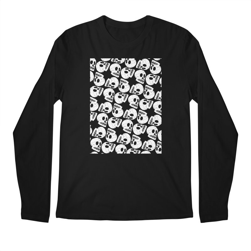 Black and White Skull Pattern Men's Longsleeve T-Shirt by Renee Leigh Stephenson Artist Shop