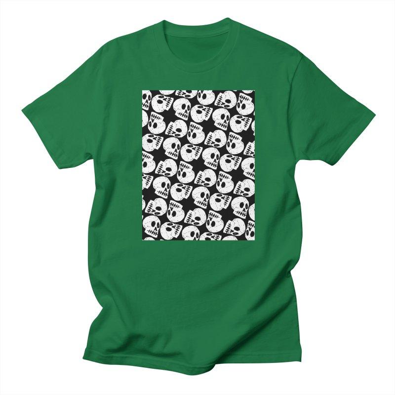 Black and White Skull Pattern Women's Unisex T-Shirt by Renee Leigh Stephenson Artist Shop