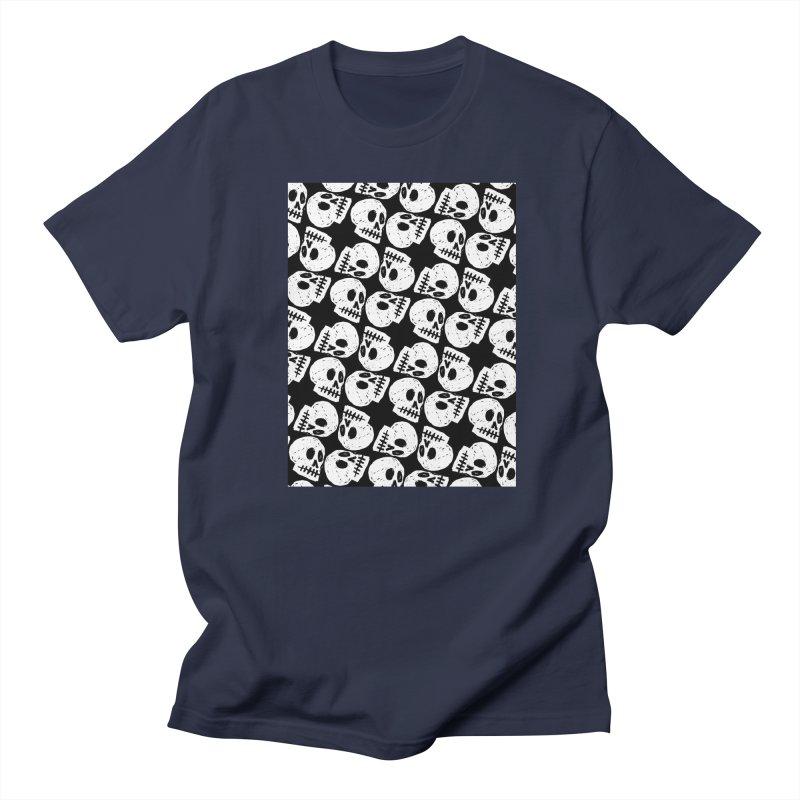 Black and White Skull Pattern Men's Regular T-Shirt by Renee Leigh Stephenson Artist Shop
