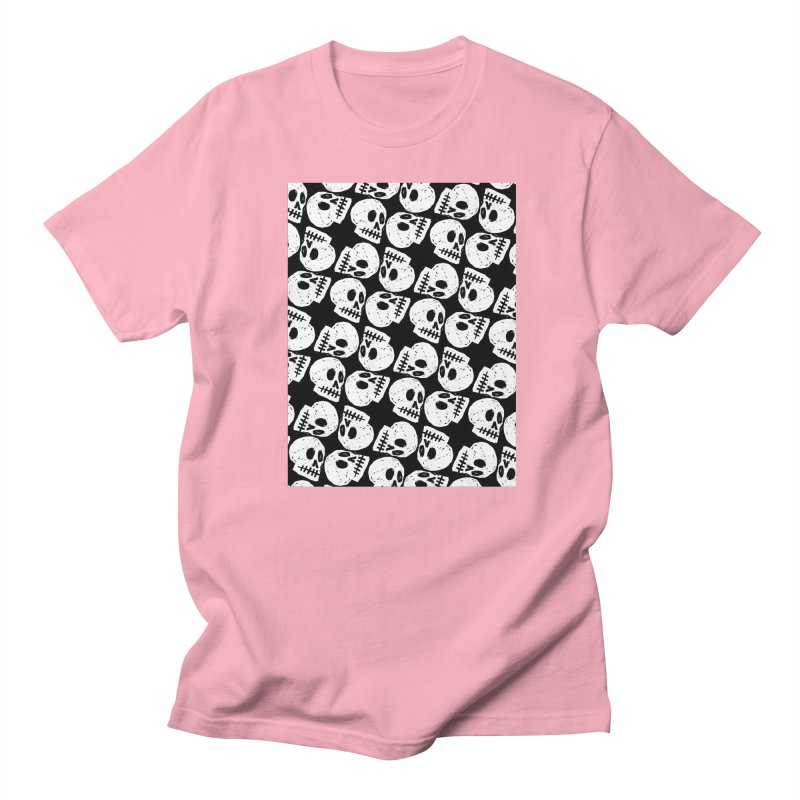 Black and White Skull Pattern Men's T-Shirt by Renee Leigh Stephenson Artist Shop