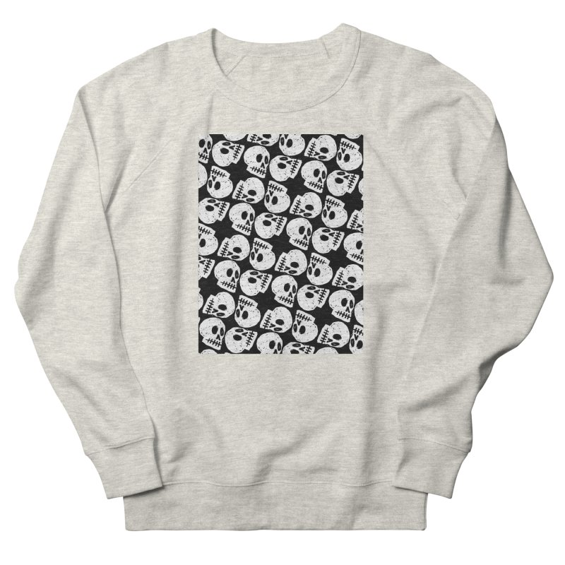 Black and White Skull Pattern Women's Sweatshirt by Renee Leigh Stephenson Artist Shop
