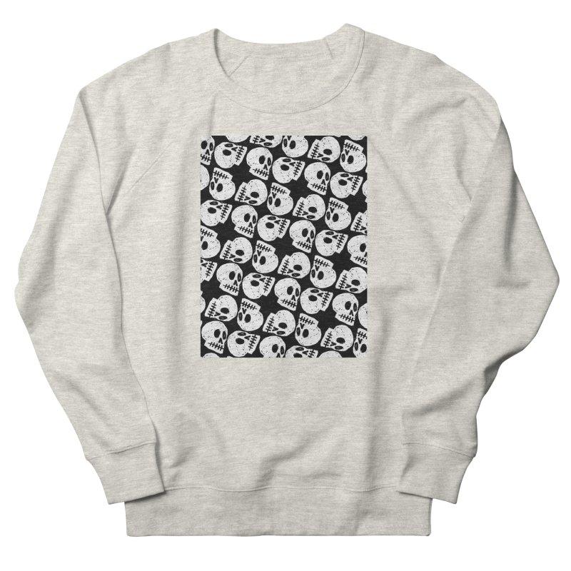 Black and White Skull Pattern Men's Sweatshirt by Renee Leigh Stephenson Artist Shop