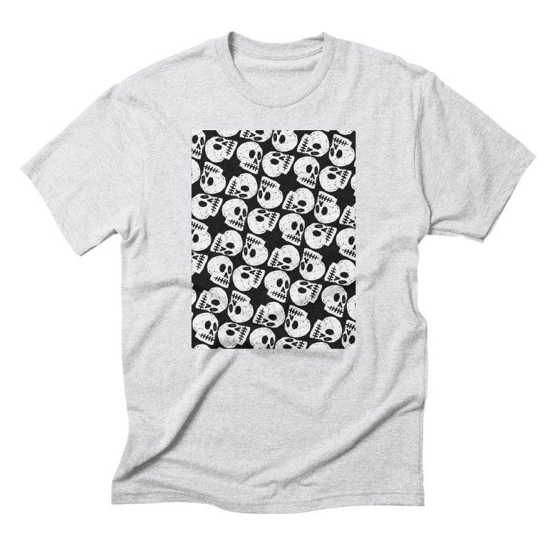 Black and White Skull Pattern Men's Triblend T-Shirt by Renee Leigh Stephenson Artist Shop