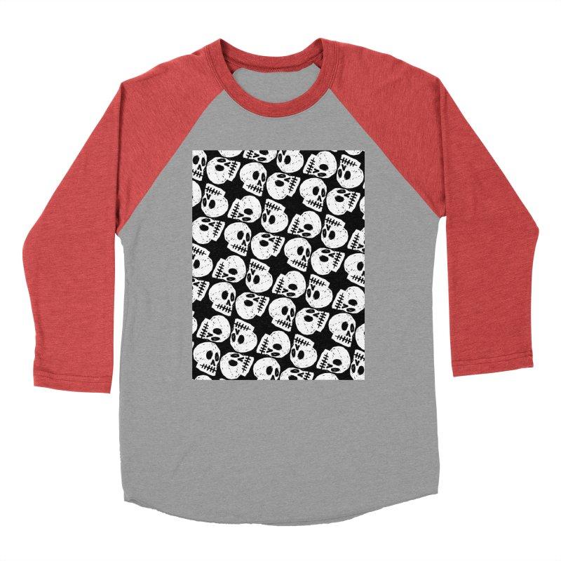Black and White Skull Pattern Women's Baseball Triblend Longsleeve T-Shirt by Renee Leigh Stephenson Artist Shop