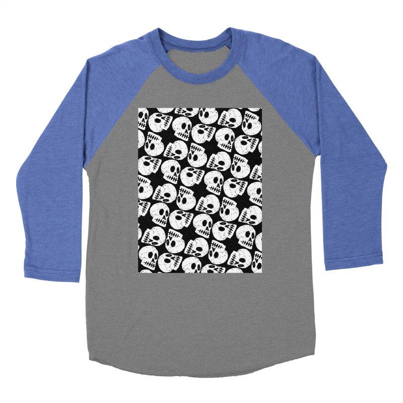 Black and White Skull Pattern Men's Baseball Triblend Longsleeve T-Shirt by Renee Leigh Stephenson Artist Shop