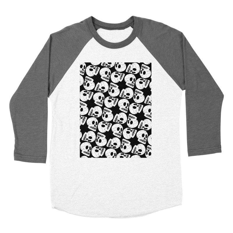 Black and White Skull Pattern Men's Baseball Triblend T-Shirt by Renee Leigh Stephenson Artist Shop