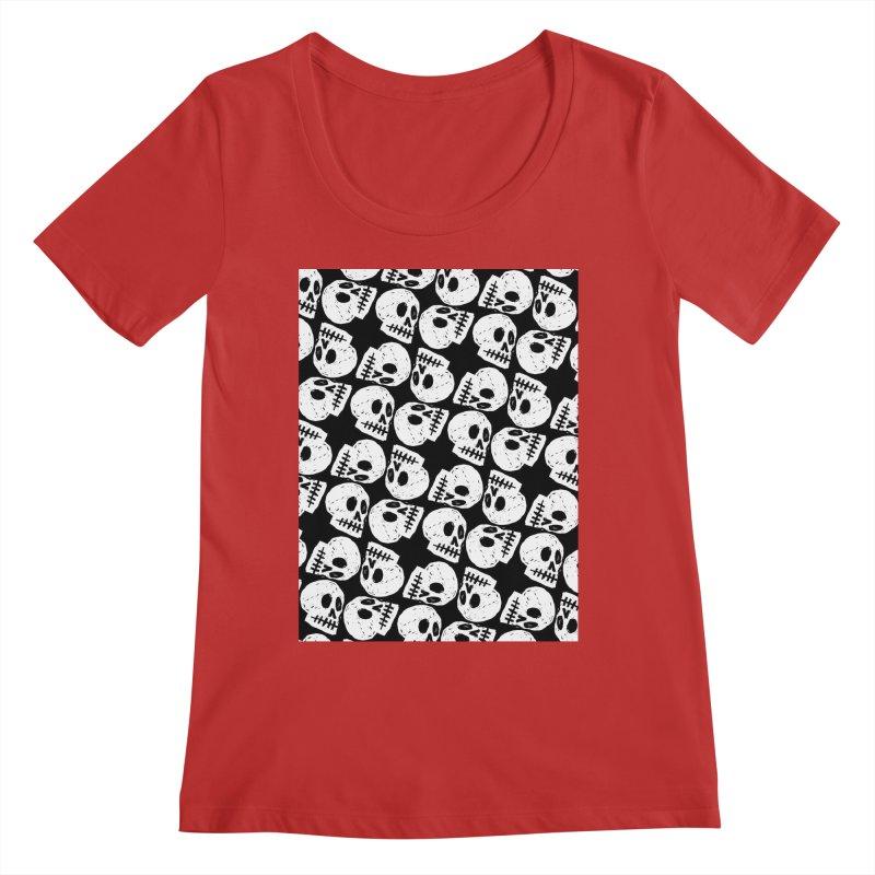 Black and White Skull Pattern Women's Regular Scoop Neck by Renee Leigh Stephenson Artist Shop