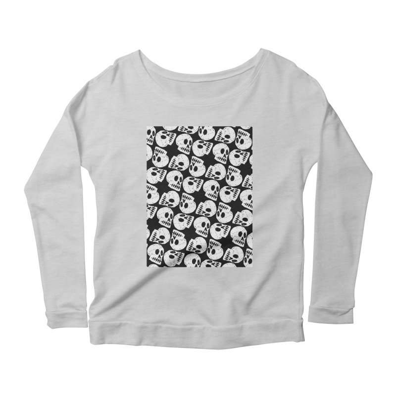 Black and White Skull Pattern Women's Scoop Neck Longsleeve T-Shirt by Renee Leigh Stephenson Artist Shop