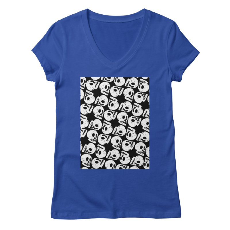 Black and White Skull Pattern Women's Regular V-Neck by Renee Leigh Stephenson Artist Shop