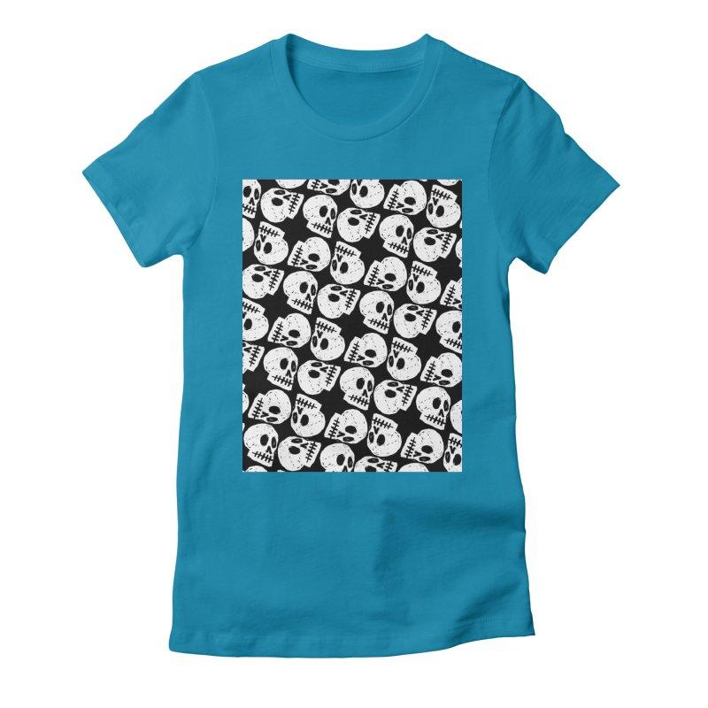Black and White Skull Pattern Women's  by Renee Leigh Stephenson Artist Shop