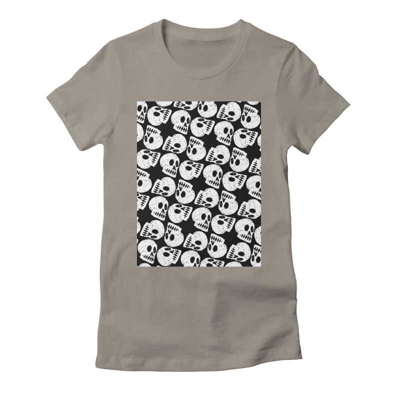 Black and White Skull Pattern Women's Fitted T-Shirt by Renee Leigh Stephenson Artist Shop