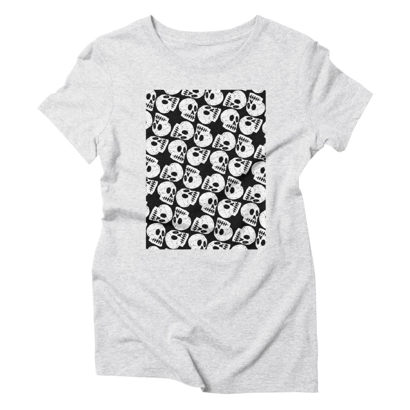 Black and White Skull Pattern Women's Triblend T-Shirt by Renee Leigh Stephenson Artist Shop