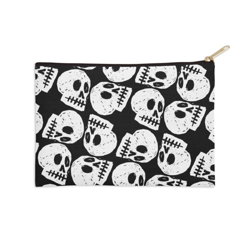 Black and White Skull Pattern Accessories Zip Pouch by Renee Leigh Stephenson Artist Shop