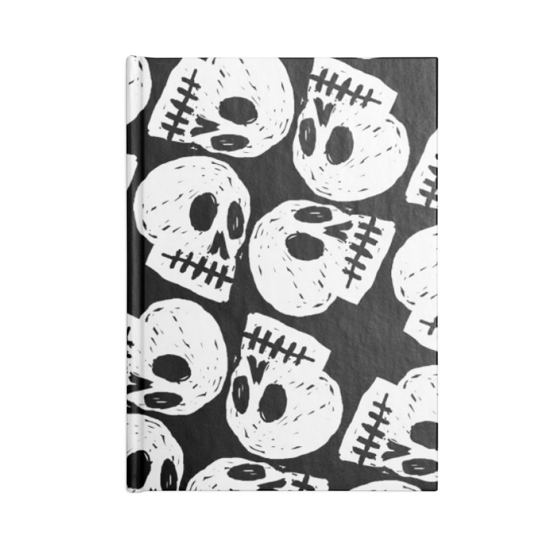 Black and White Skull Pattern Accessories Notebook by Renee Leigh Stephenson Artist Shop