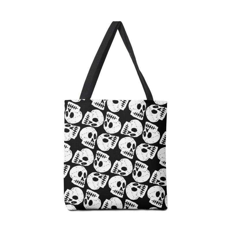 Black and White Skull Pattern Accessories Bag by Renee Leigh Stephenson Artist Shop