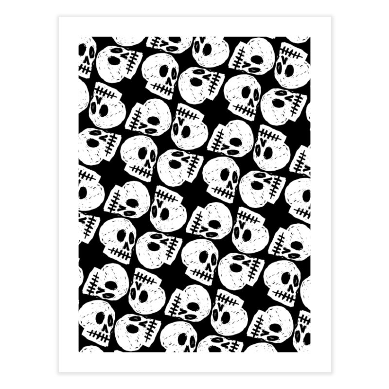 Black and White Skull Pattern Home Fine Art Print by Renee Leigh Stephenson Artist Shop