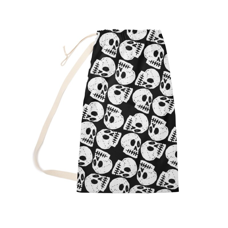 Black and White Skull Pattern Accessories Laundry Bag Bag by Renee Leigh Stephenson Artist Shop