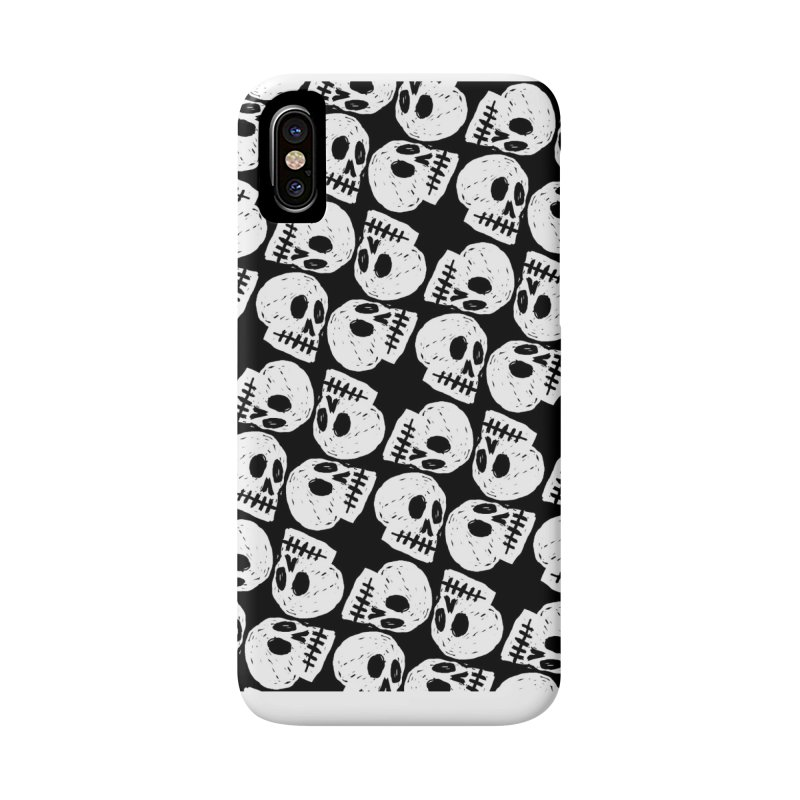 Black and White Skull Pattern Accessories Phone Case by Renee Leigh Stephenson Artist Shop