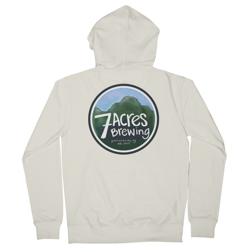 7 Acres Brewing Badge Men's French Terry Zip-Up Hoody by Renee Leigh Stephenson Artist Shop