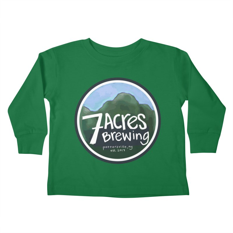 7 Acres Brewing Badge Kids Toddler Longsleeve T-Shirt by Renee Leigh Stephenson Artist Shop