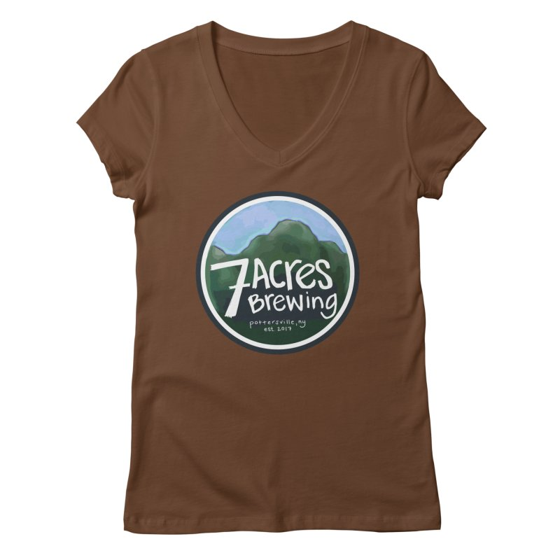 7 Acres Brewing Badge Women's V-Neck by Renee Leigh Stephenson Artist Shop