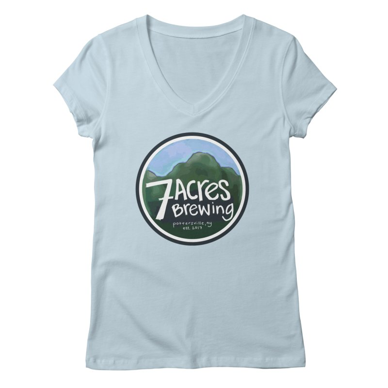 7 Acres Brewing Badge Women's Regular V-Neck by Renee Leigh Stephenson Artist Shop