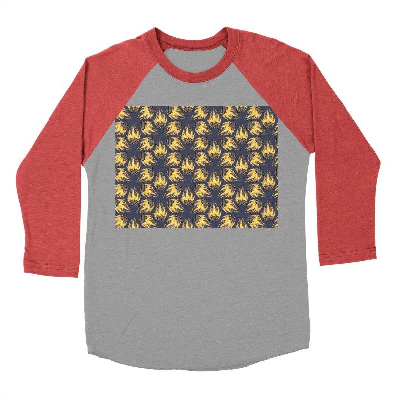 Campfire Pattern Men's Baseball Triblend Longsleeve T-Shirt by Renee Leigh Stephenson Artist Shop