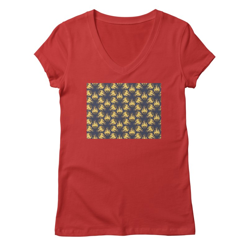 Campfire Pattern Women's V-Neck by Renee Leigh Stephenson Artist Shop