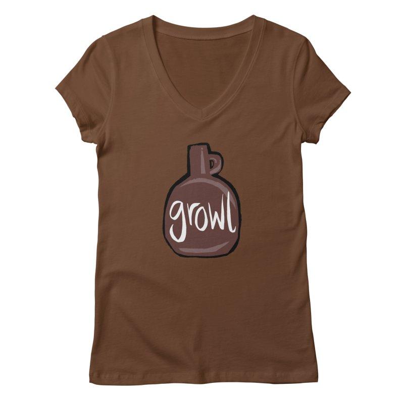 Growl Women's Regular V-Neck by Renee Leigh Stephenson Artist Shop