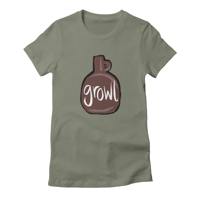 Growl Women's Fitted T-Shirt by Renee Leigh Stephenson Artist Shop