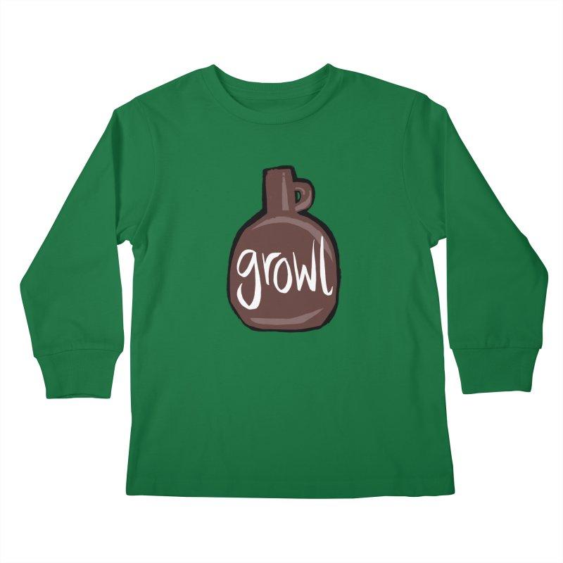 Growl Kids Longsleeve T-Shirt by Renee Leigh Stephenson Artist Shop