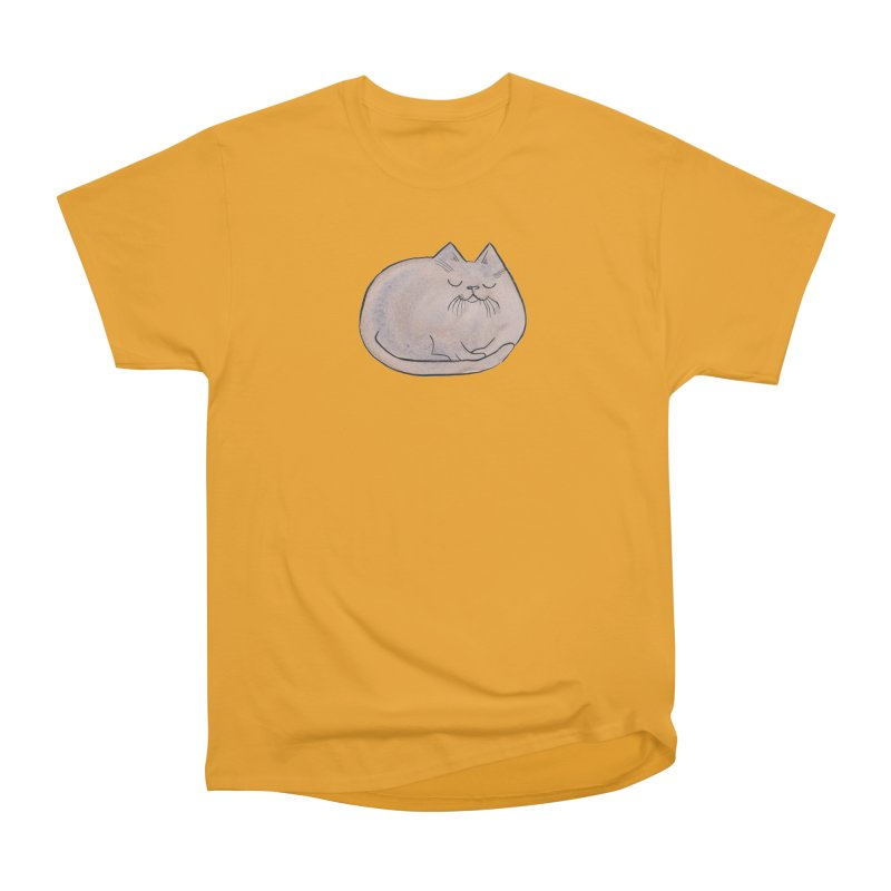 Sleepy Cat Lump Women's Heavyweight Unisex T-Shirt by Renee Leigh Stephenson Artist Shop