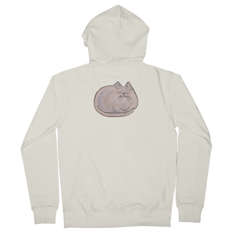 Sleepy Cat Lump Men's Zip-Up Hoody by Renee Leigh Stephenson Artist Shop